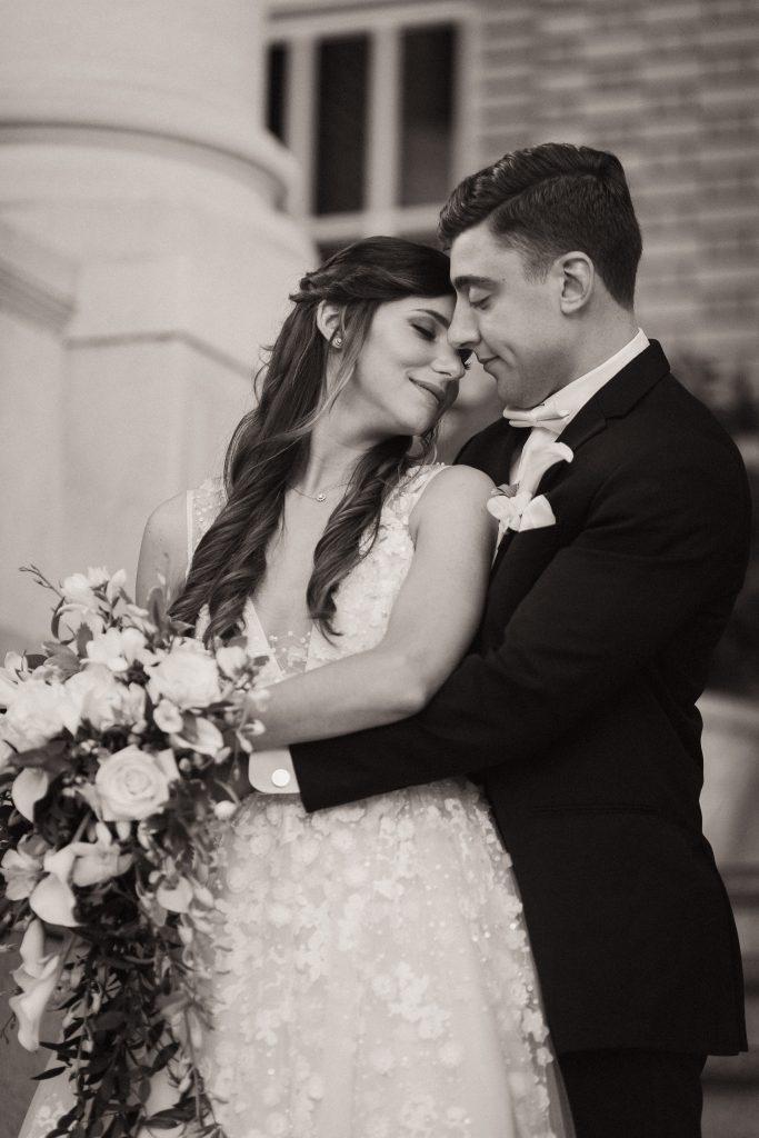 black and white bride and groom georgian terrace wedding