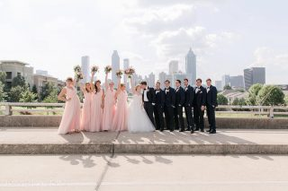Beautiful wedding party in front of Atlanta's skyline! This one will be a top favorite for a long time!  #brownfowleredout  #atlantaweddings #atlantaskyline #bridalparty #atlantaweddingphotographer